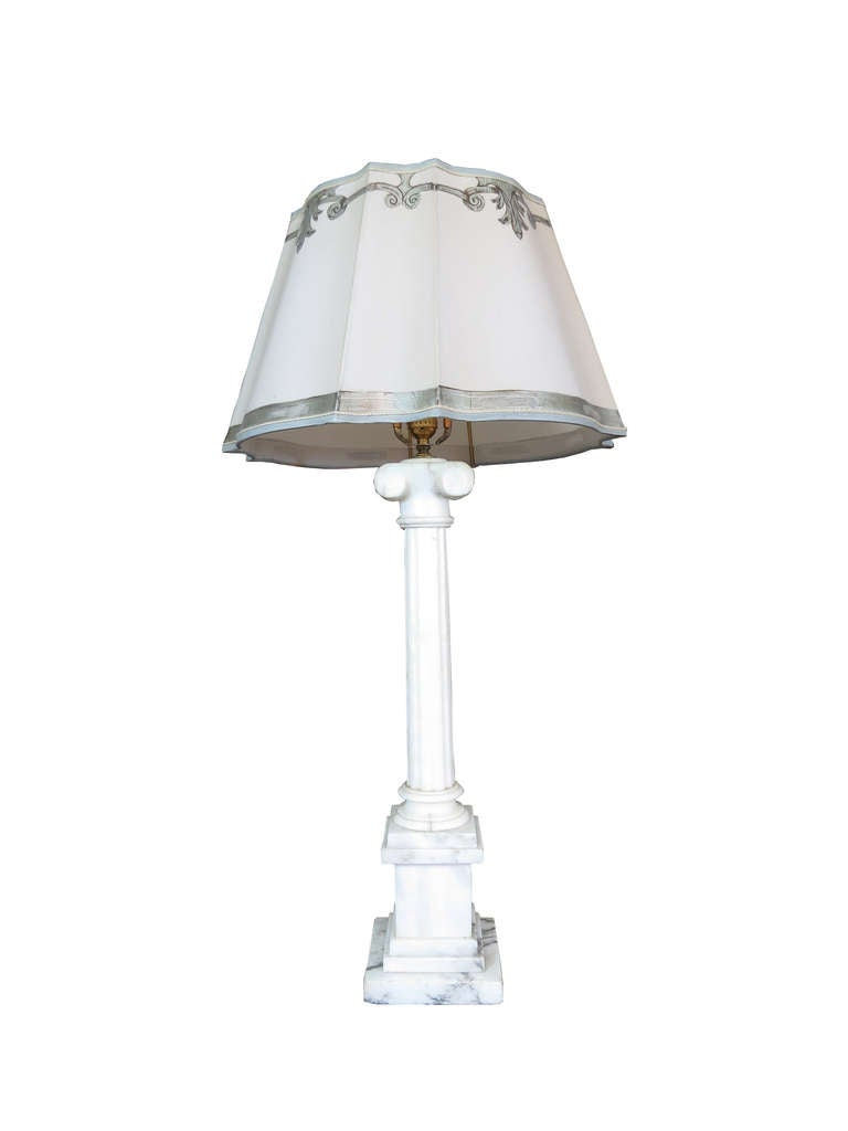 Pair Of Marble Lamps With Parchment Shades At 1stdibs