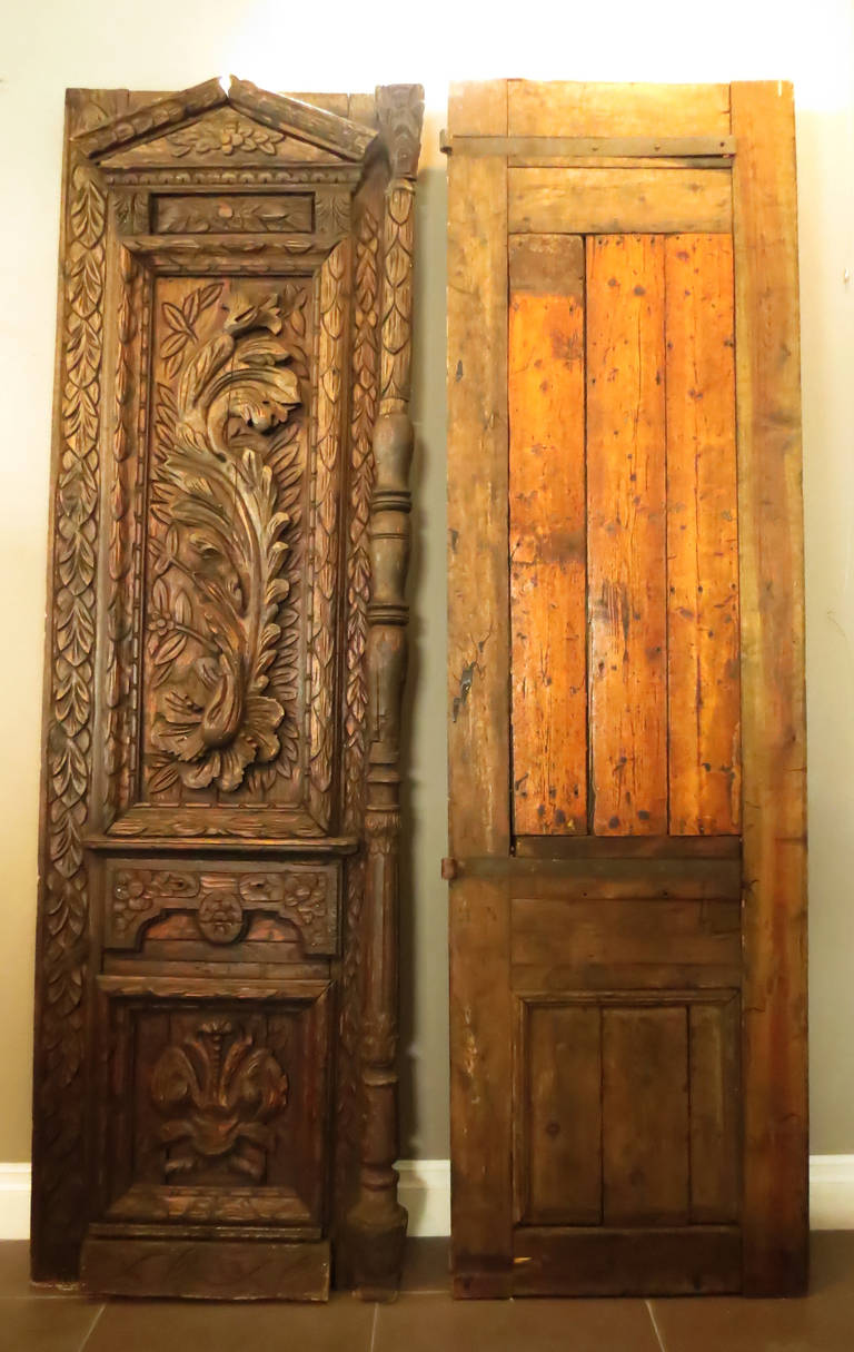 Pair Of French 18th Century Carved Wooden Doors At 1stdibs