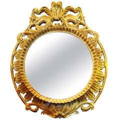 Round Carved Wood Mirror