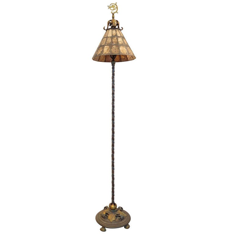 Spanish Revival Floor Lamp Mica Shade At 1stdibs