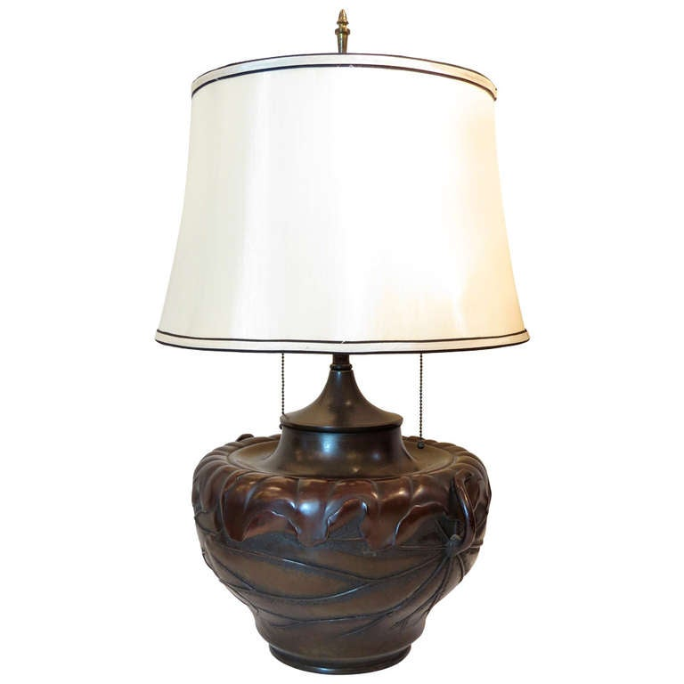 Japanese Bronze Table Lamp At 1stdibs
