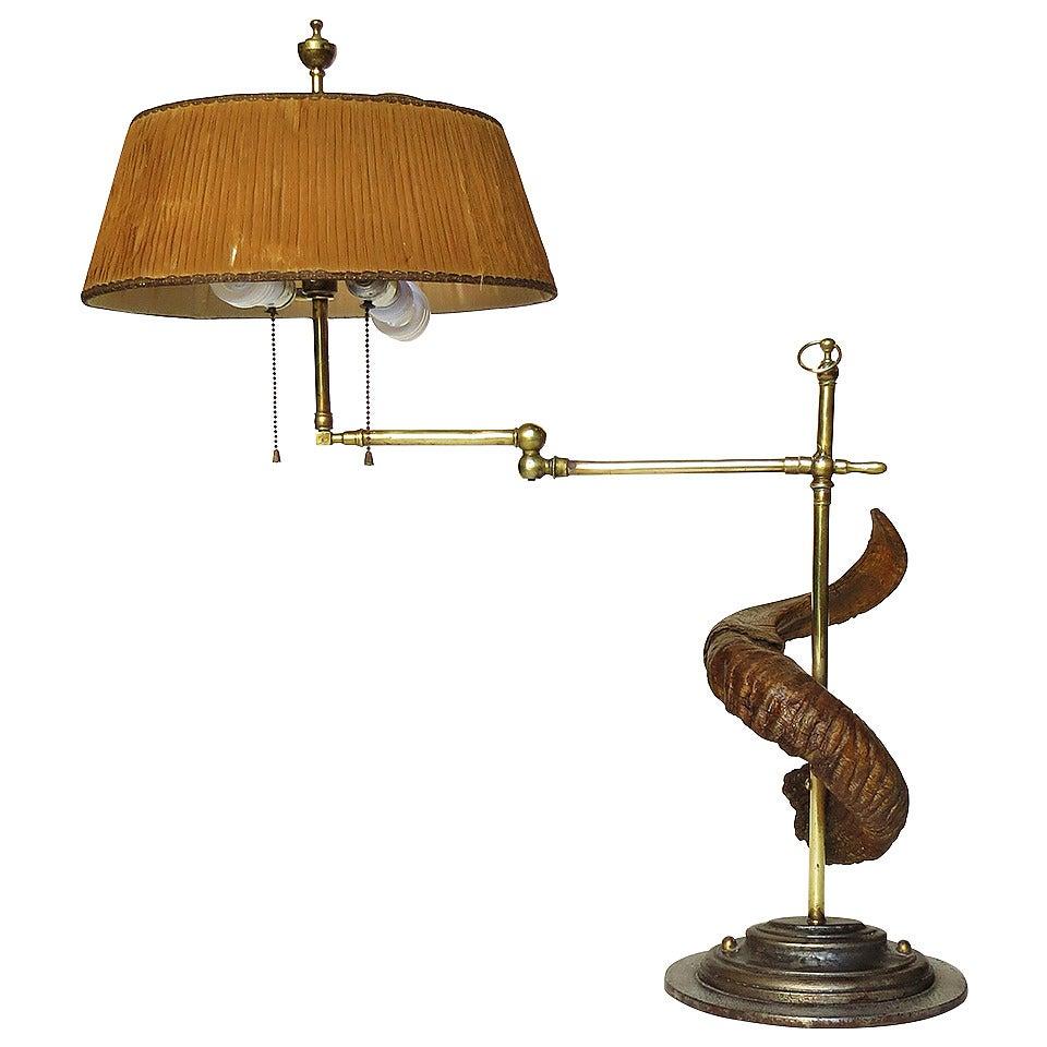 antique swing arm sculptural table lamp at 1stdibs. Black Bedroom Furniture Sets. Home Design Ideas