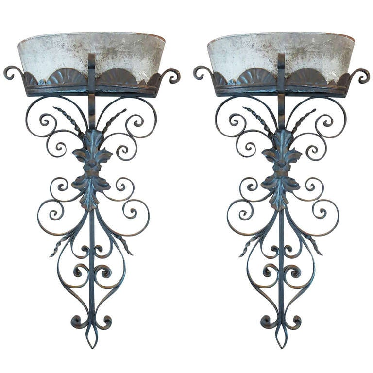 Spanish Iron Wall Sconces : Pair of Spanish Revival Wrought Iron Sconces at 1stdibs