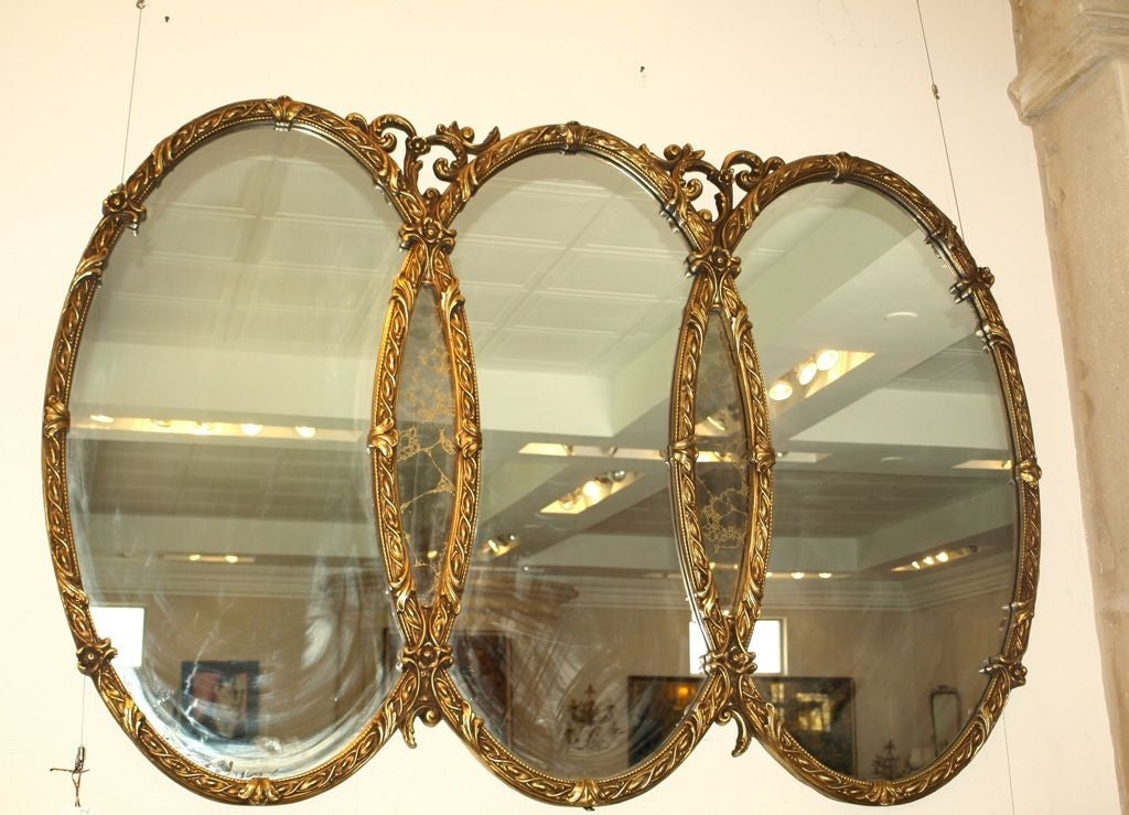 Antique french style triple gold wall mirror at 1stdibs for Antique style wall mirror