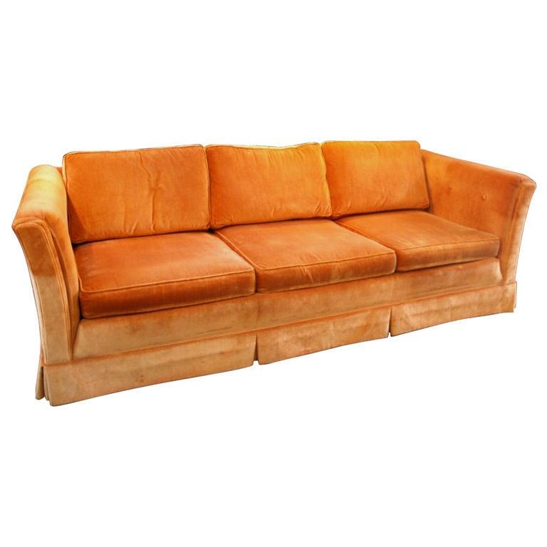 Orange Mid Century Sofa: Mid Century Dunbar Style Orange Velvet 3 Seats Sofa At 1stdibs