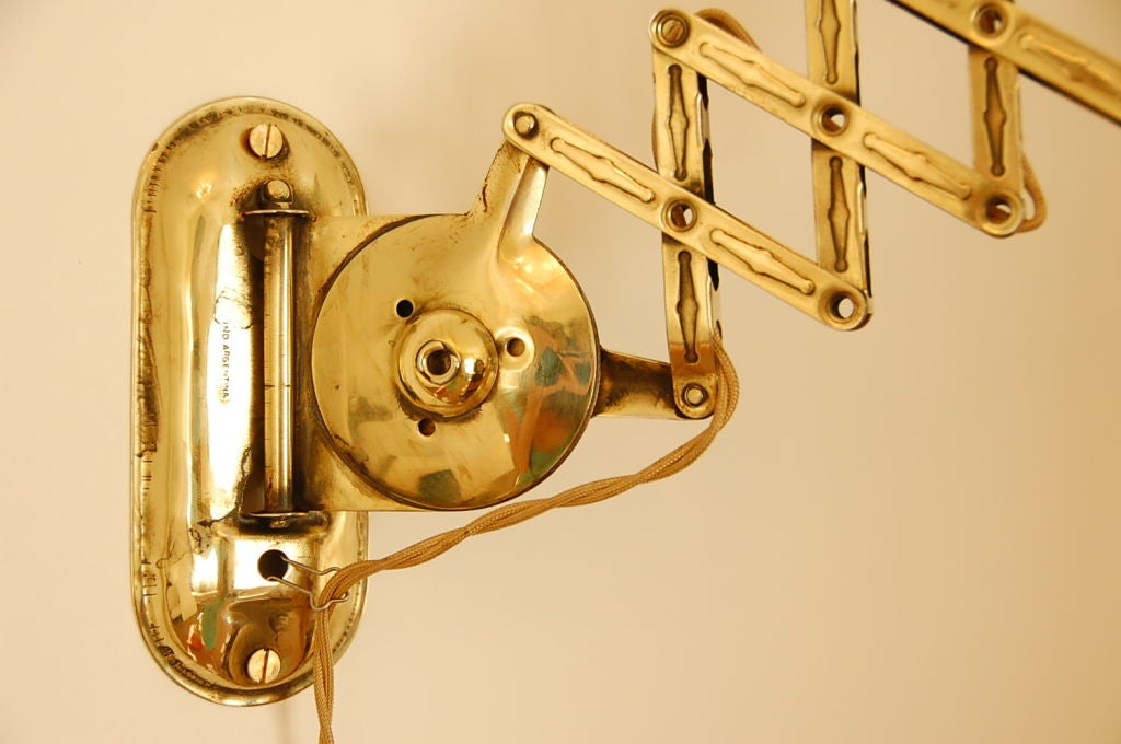 Brass Scissor Wall Mount With Expanding Arm At 1stdibs