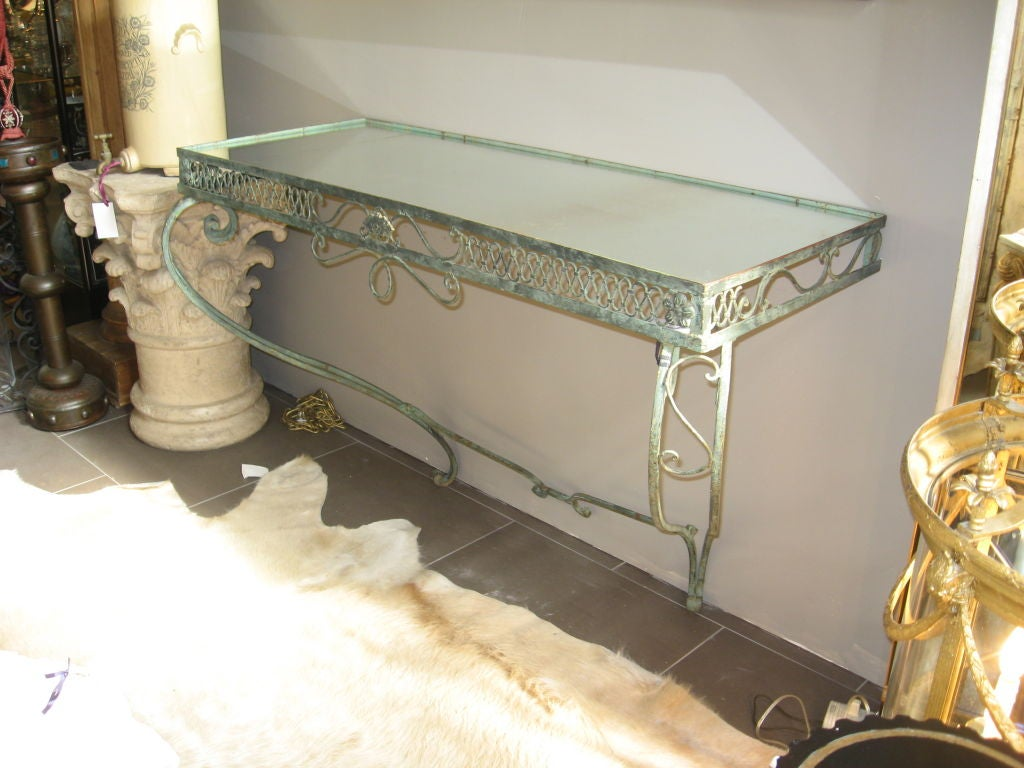 1900 S Italian Wrought Iron Wall Mount Console With Mirror