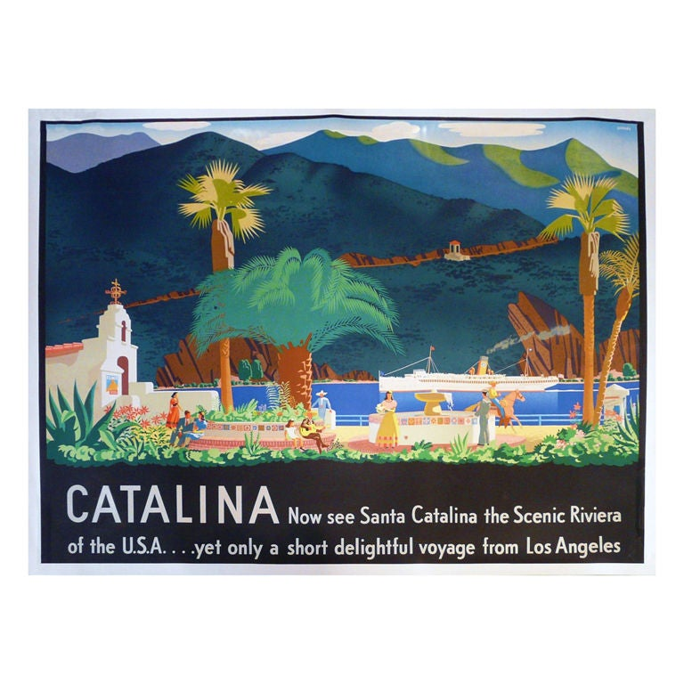 1938 Rare Catalina Poster By Otis Shepard At 1stdibs