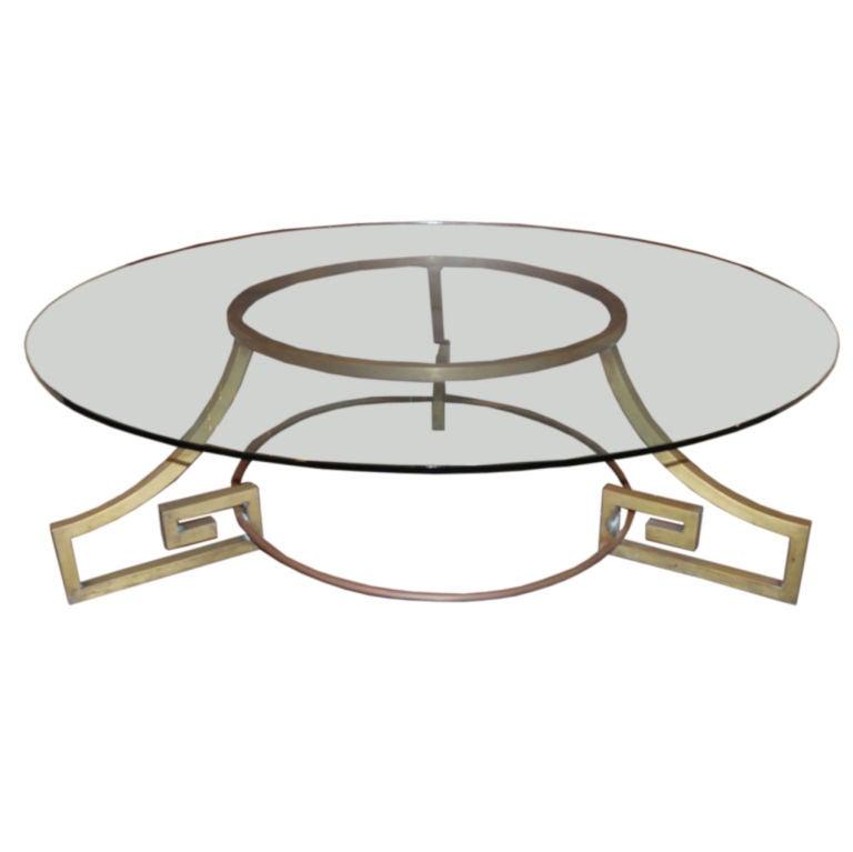 Dramatic Brass Greek Key Coffee Table At 1stdibs