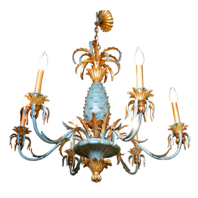 Hand Painted With Gilt Pineapple Chandelier At 1stdibs