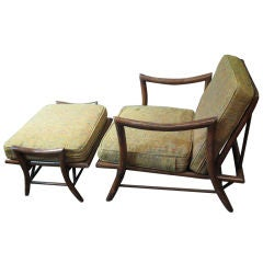 James Mont Style Bamboo Chair and Ottoman