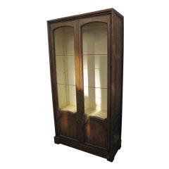 Baker Tall Blonde Wood Cabinet with Wire Screens for Display