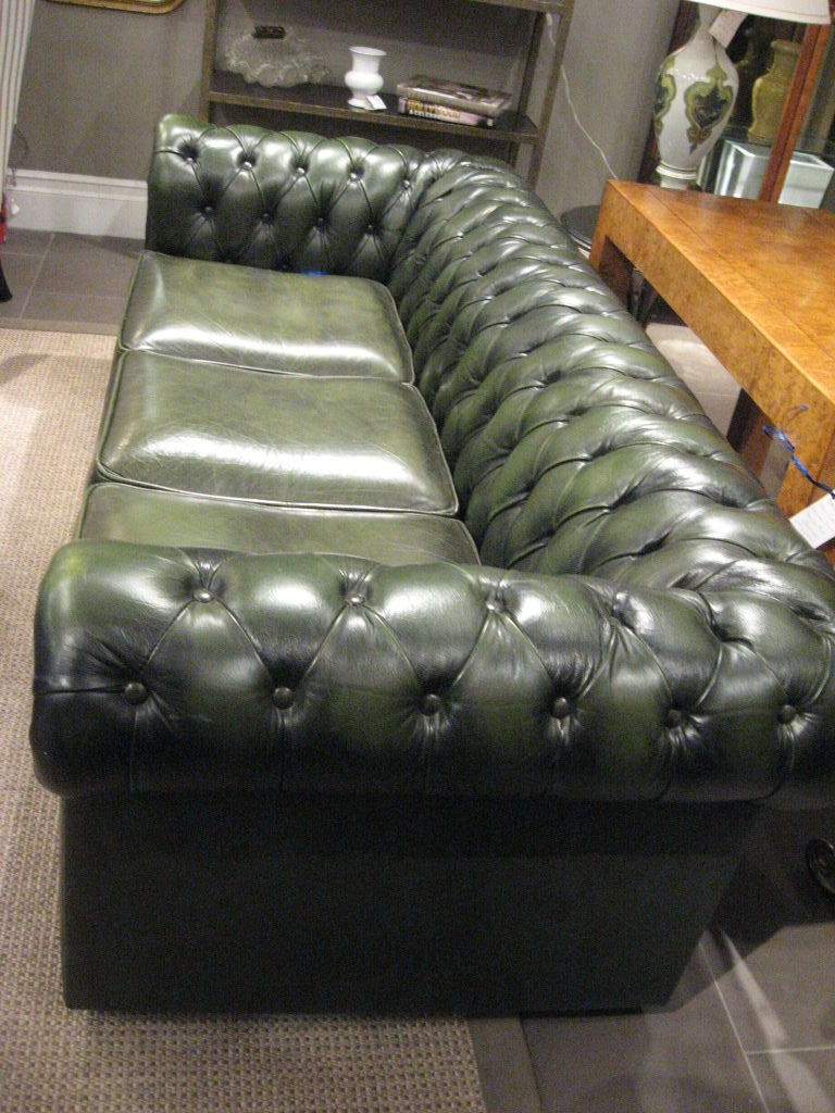 Green Leather Chesterfield Sofa at 1stdibs