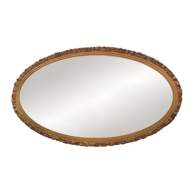 Gold Oval Wall Mirror At 1stdibs