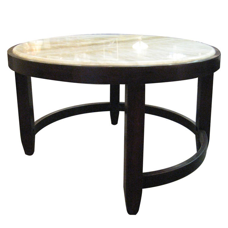 Beautiful Onyx Top With Mahogany Coffee Table