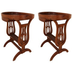 Pair of Biedermeier Lyre Form Side Tables