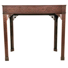 19th Century Chinese Chippendale Fretwork Side Table