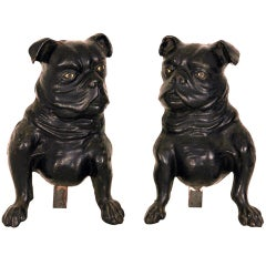 Rare 19th Century French Bulldog Andirons