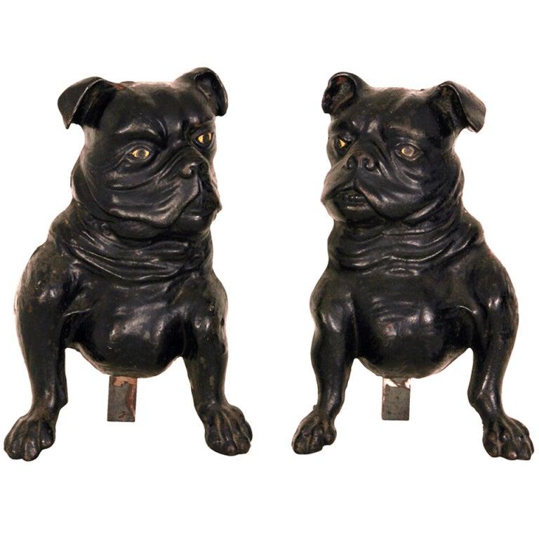 Rare 19th Century French Bulldog Andirons At 1stdibs