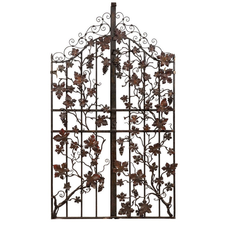 Impressive Wrought Iron Gates With Grape Vine Details At