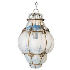 Vintage Hand Blown Seguso Murano Glass Cage Pendant Light