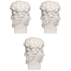 Set of Three Early 18th Century Italian Carved Marble Termes