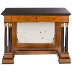 Period French Empire Cherry Console with Black Fossil Marble Top