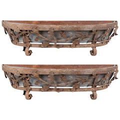 Large Pair of French 17th Century Hand-Wrought Iron Planters