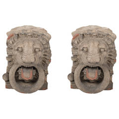 Pair of 19th Century French Stone Lion Heads