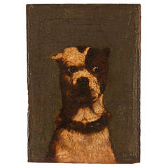 Exceptional 19th Century Painting of a Bull Terrier on Wooden Panel