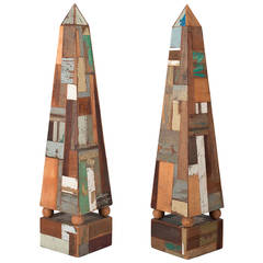 Pair of 19th Century French Folk Art Obelisks