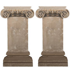 Pair of French 18th Century Carved Limestone Pilasters