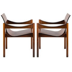 Pair of Mid-Century Dutch Walnut Saddle Armchairs