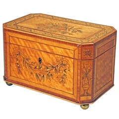 Inlaid Tea Caddy with Canted Corners