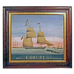 "Whaling Scene Painting with American ""Brig Congress T. Wilcox"""