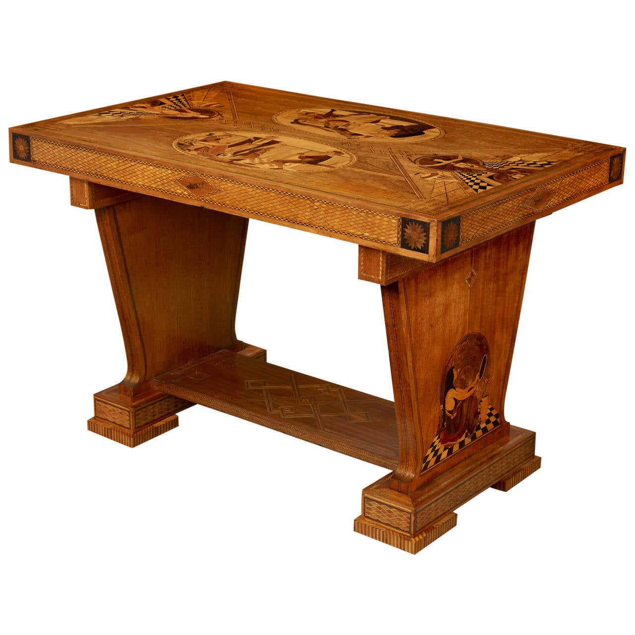 Art deco marquetry center table for sale at 1stdibs for Table de nuit art deco