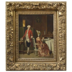 Painting of a Gentleman Observing a Lady Drinking Tea in an Elegant Interior