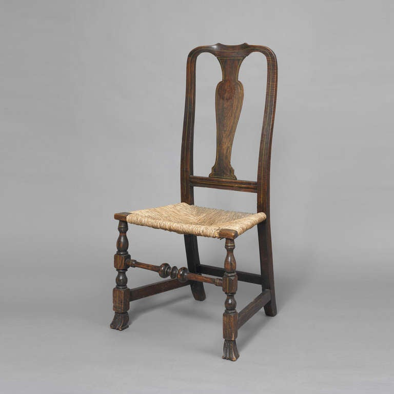 Early Queen Anne Grain Painted Spanish Foot Side Chair 3