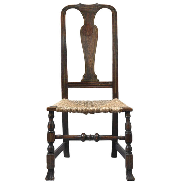Early Queen Anne Grain Painted Spanish Foot Side Chair 1 - Early Queen Anne Grain Painted Spanish Foot Side Chair For Sale At
