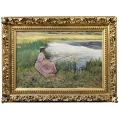 "Joseph Henry Hatfield, ""Young Woman Fishing Along a River"" Oil on Canvas"
