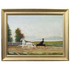 "S.R. Boyce ""Horse and Sulky with Rider"" Painting"