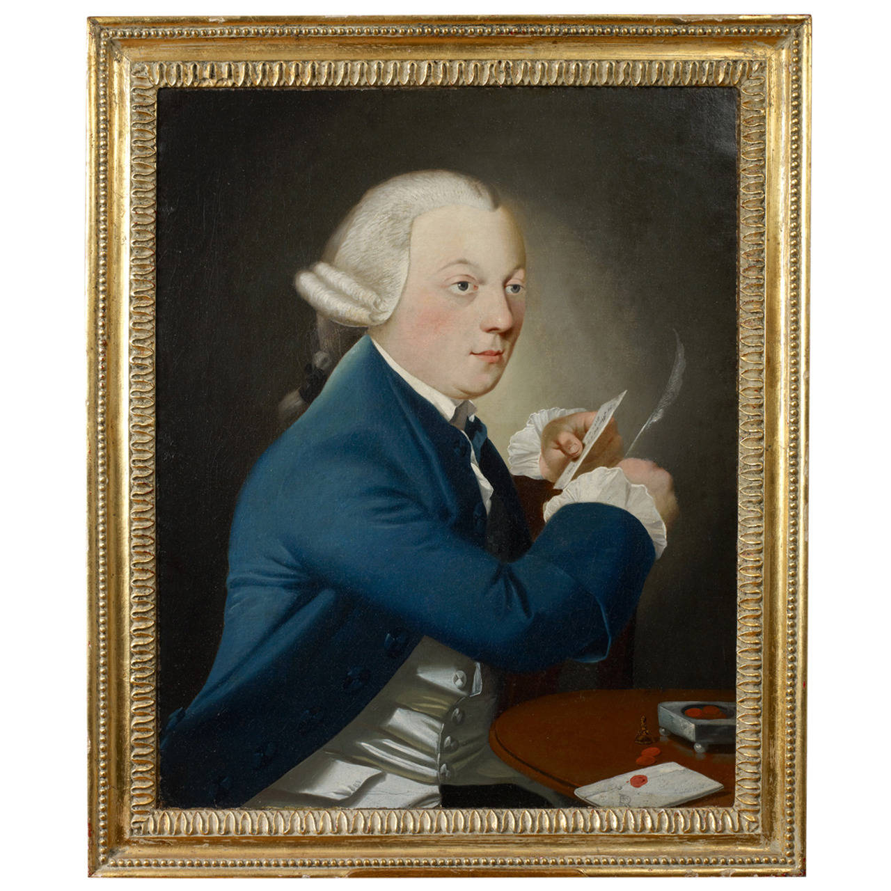 Portrait of a Gentleman Writing a Letter, Oil on Canvas