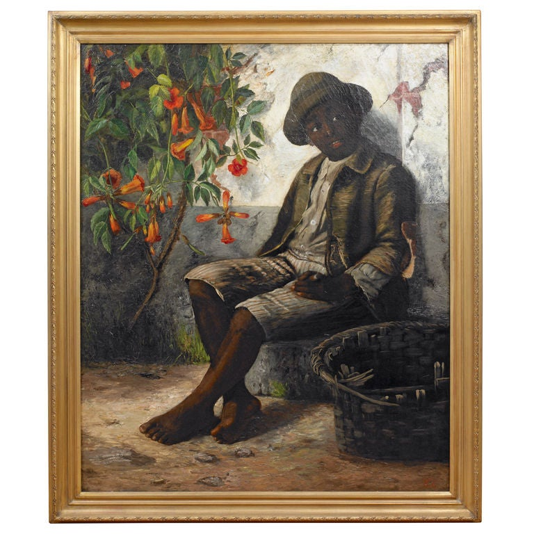 Portrait of a Young Black Boy, Oil on Canvas