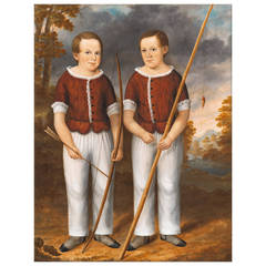 "Joseph Goodhue Chandler, ""Two Boys with Bow and Fishing Pole"" Oil on Canvas"