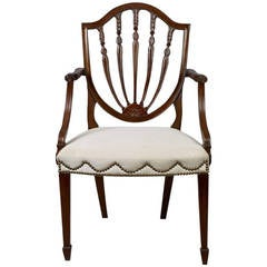Hepplewhite Shield Back Mahogany Armchair