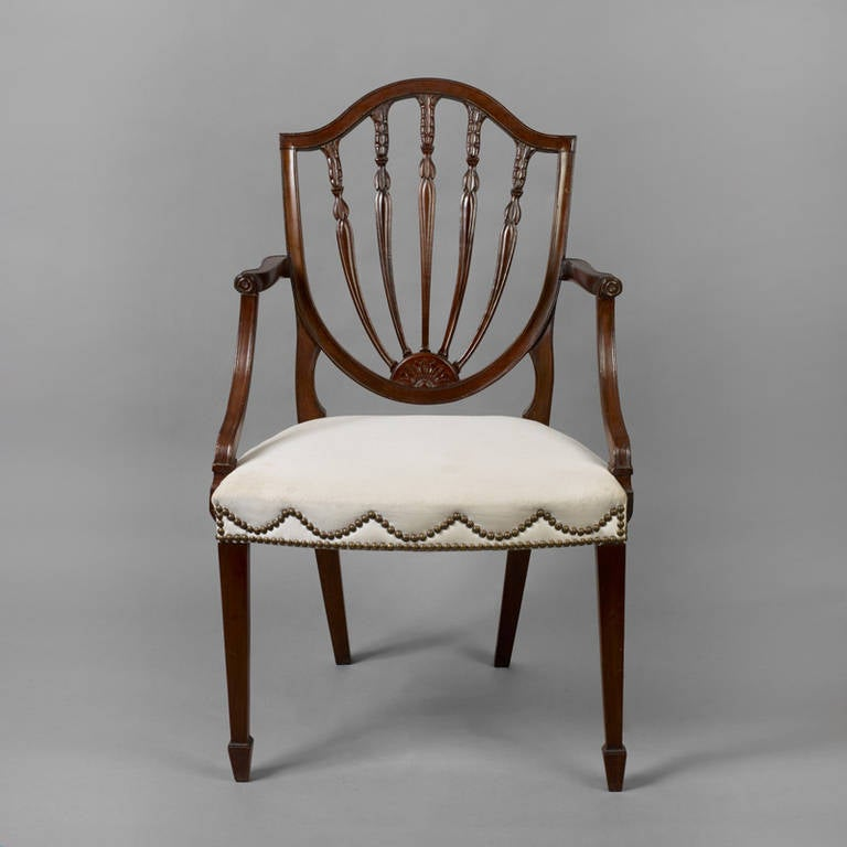 Hepplewhite Shield Back Mahogany Armchair For Sale At 1stdibs