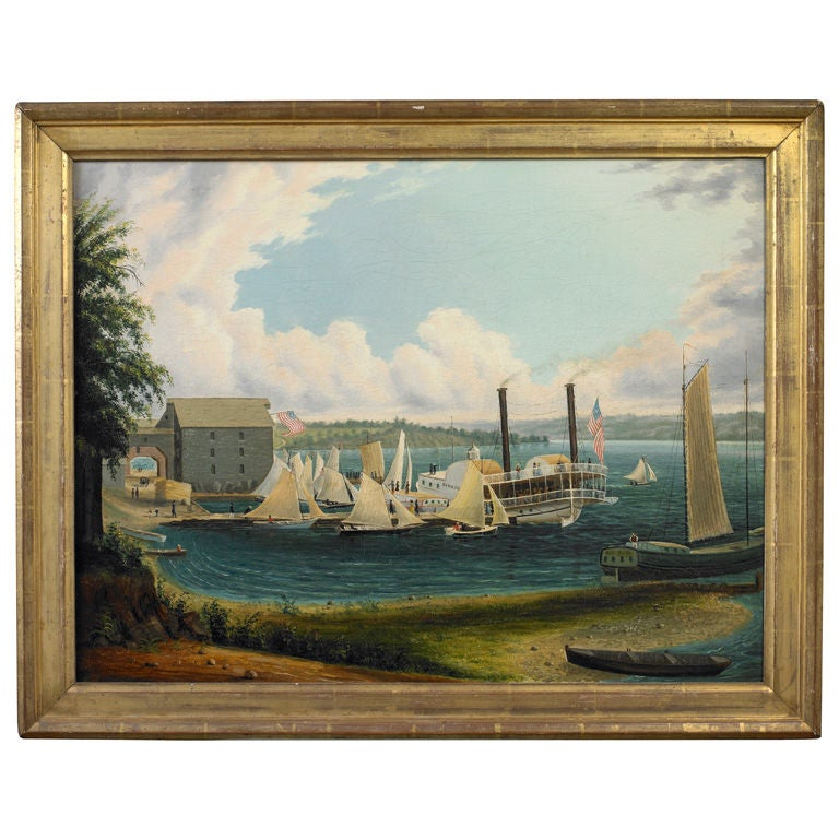 American Folk Painting of a Regatta on Lake Seneca, New York