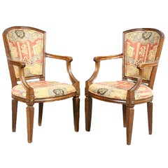 Pair of Walnut Neoclassical Open Arm Chairs