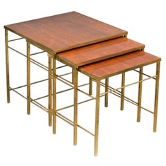 Brass Nesting Tables with Mahogany Inset Tops