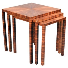 Straw Marquetry Nesting Tables, set of Three